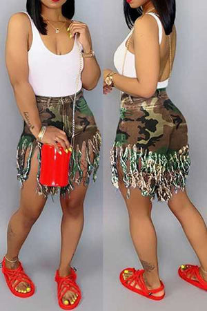 Wearvip Casual Tassel Trim Camouflage Print Shorts