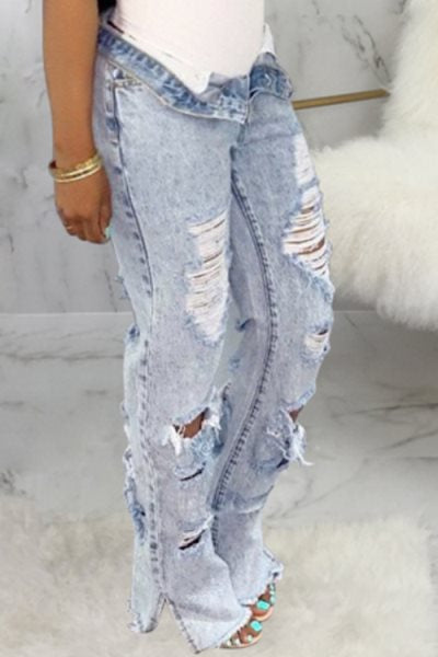 Wearvip Casual High Rise Ripped Mill White Loose Split Jeans