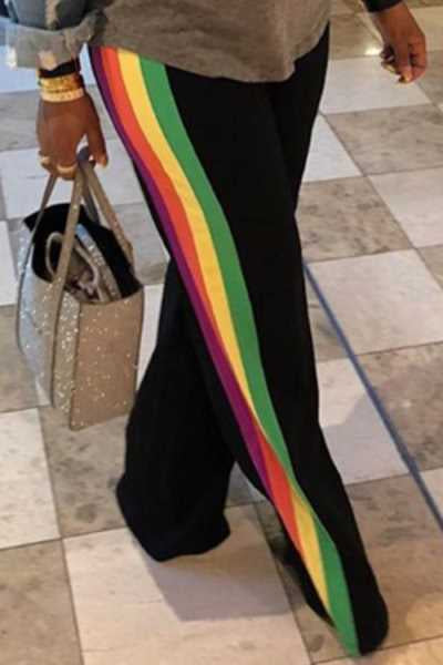Wearvip Casual Side Rainbow Stripes Loose Pants