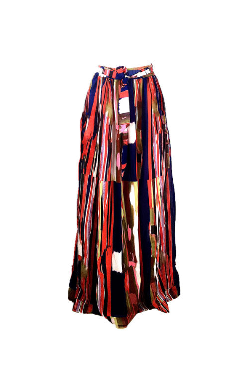 Wearvip Casual Multicolor Chiffon Skirt