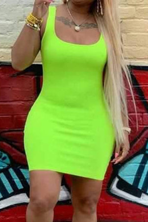 Wearvip Casual Spaghetti Strap Solid Color Bodycon Mini Dress