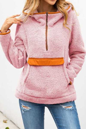 Wearvip Casual Zip Up Patchwork Pocket Hooded Woolen Coat