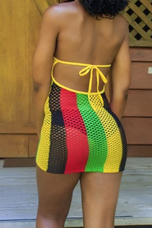 Wearvip Bohemian Striped Print See-Through Swimdress