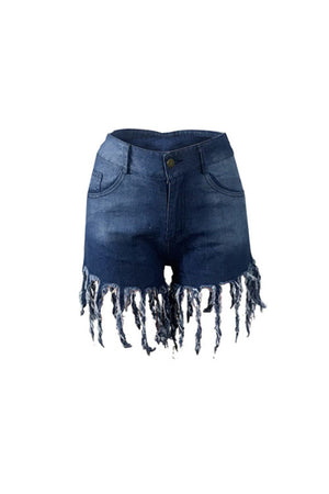 Wearvip Casual Tassel Trim Jean Shorts