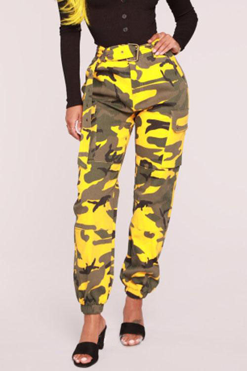 Wearvip Casual Camouflage Low Rise Frock Style Pants