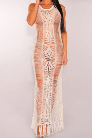 Wearvip Bohemian See-Through Tassels Trim Swimdress