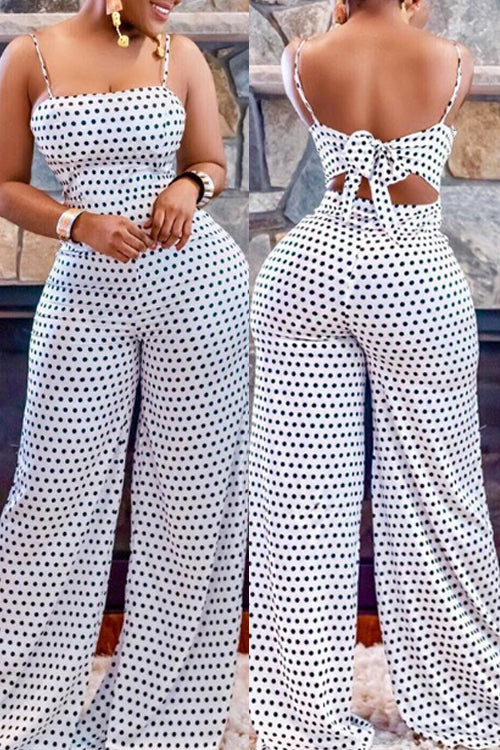 Wearvip Casual Polka Dot Print Wide Leg Jumpsuit
