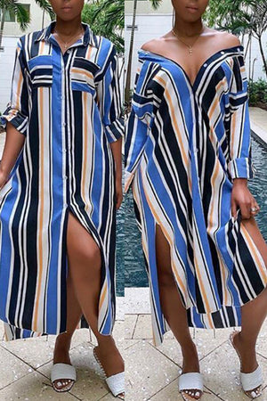 Wearvip Casual Loose Striped Print Shirt Midi Dress