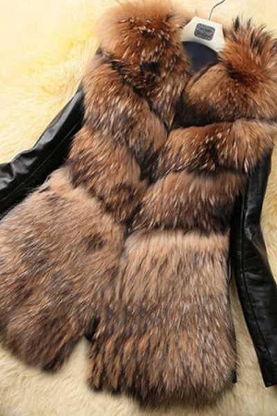 Wearvip Casual PU Sleeve Faux Fur Coat
