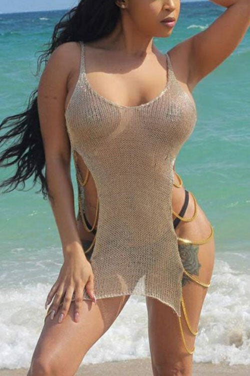 Wearvip Bohemian See-Through Chain Swimdress