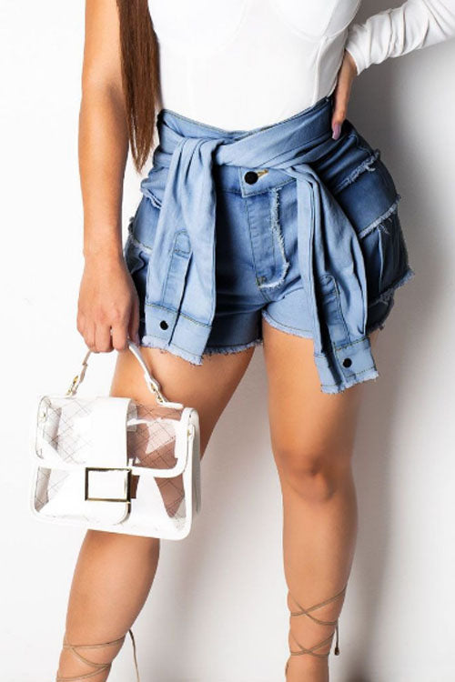 Wearvip Casual High Rise Tie Jean Shorts