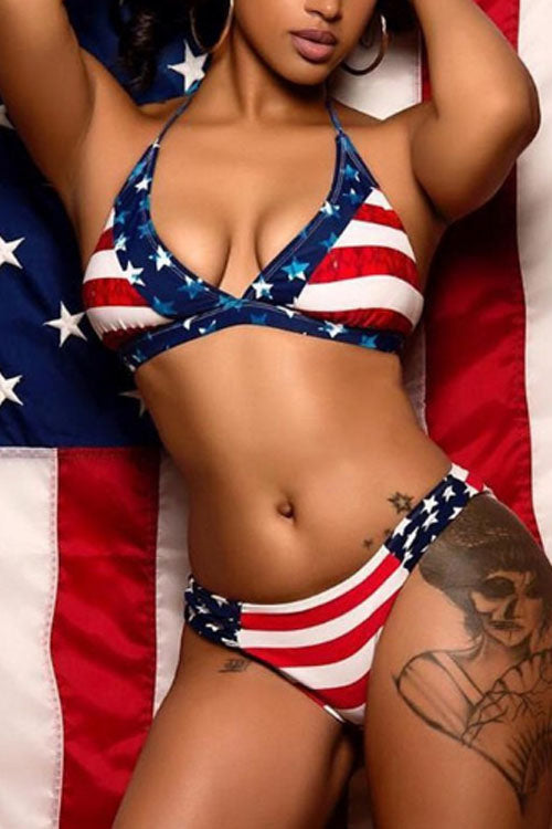 Wearvip Bohemian Striped Print National Flag Bikini