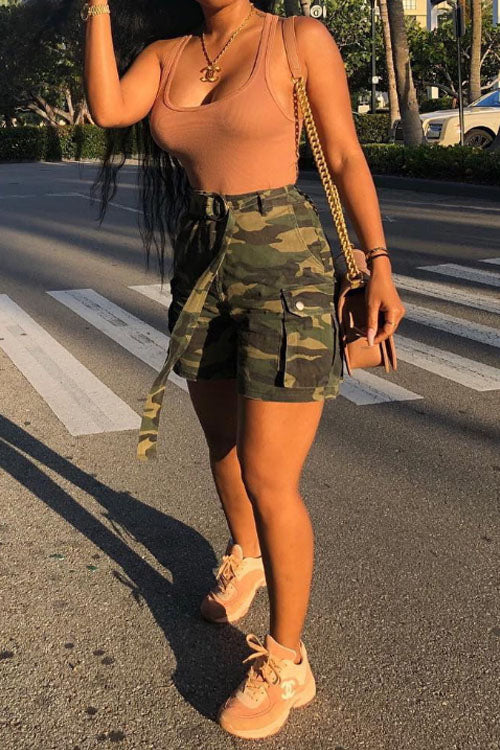 Wearvip Casual Camouflage Print Shorts(With Belt)