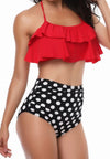 Retro Flounce High Waisted Bikini Halter Neck Two Piece Swimsuit