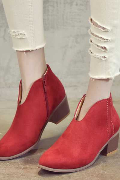 Wearvip Casual Pointed Toe Chunky Heel Side Zipper Ankle Boots