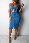 Wearvip Casual Spaghetti Strap Denim Midi Dress