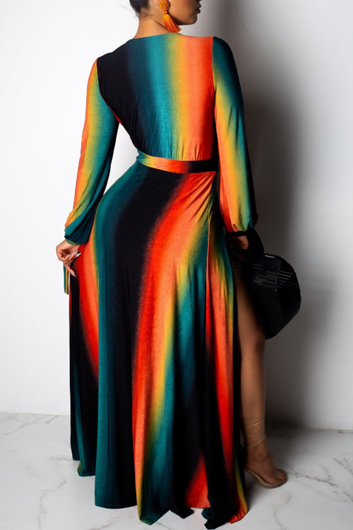 Wearvip Bohemian High Split Gradient Print Maxi Dress