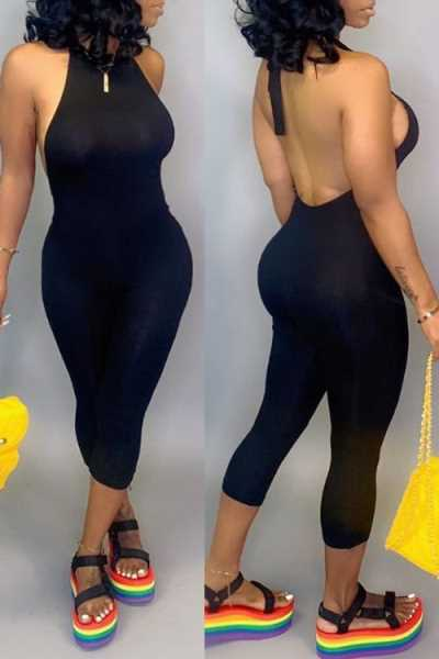 Wearvip Casual Solid Color Backless Bodycon Jumpsuit