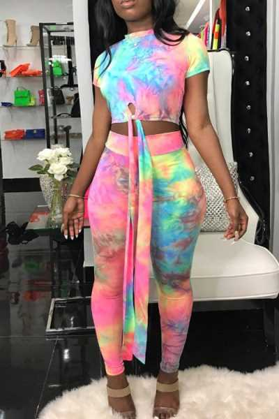 Wearvip Casual Short Sleeve Midriff Tie Dye Print Pants Sets