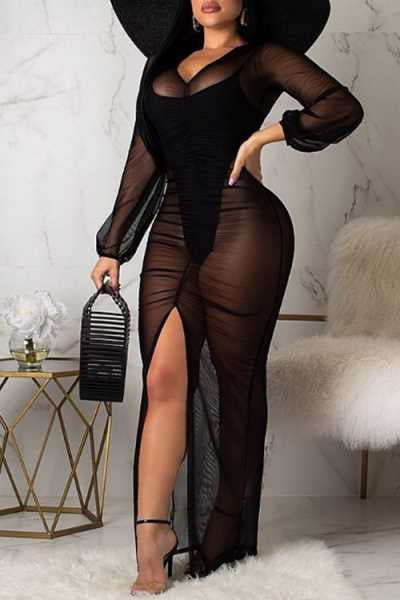 Wearvip Bohemian Long Sleeve See-through Split Maxi Dress