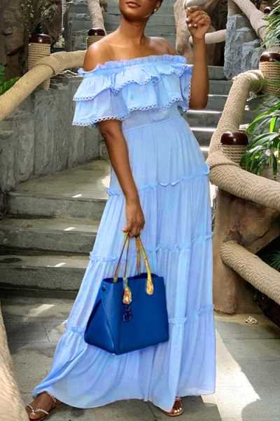 Wearvip Bohemian Off Shoulder Flounce Trim Blue Maxi Dress