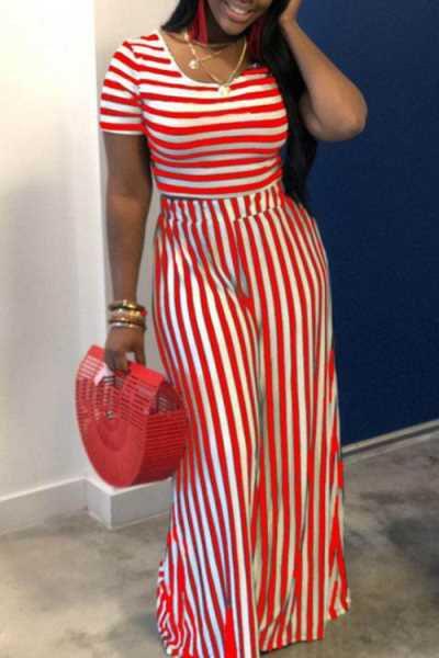 Wearvip Casual Striped Print Wide Leg Pants Sets