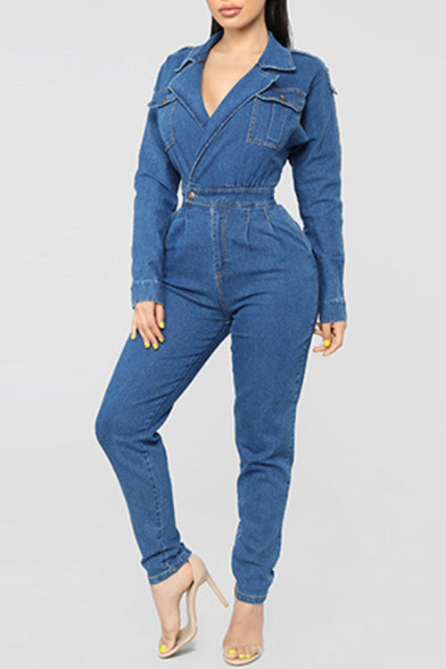 Wearvip Casual Frock Style Long Sleeve Denim Jumpsuit (With Pocket)