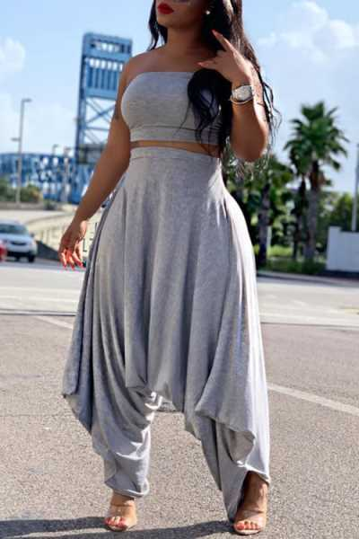 Wearvip Casual Loose Strapless Solid Color Pants Sets