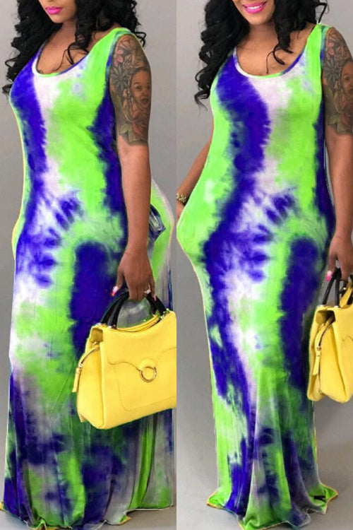 Wearvip Casual Sleeveless Tie Dye Print Maxi Dress