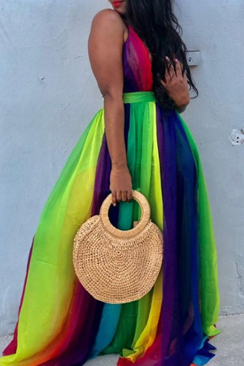 Wearvip Bohemian Deep V-neck Gradient print Chiffon Maxi Dress