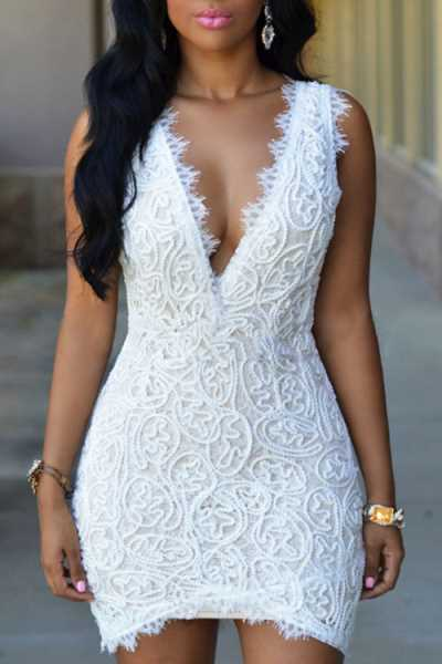 Wearvip OL Sleeveless Deep V-neck Lace Mini Dress