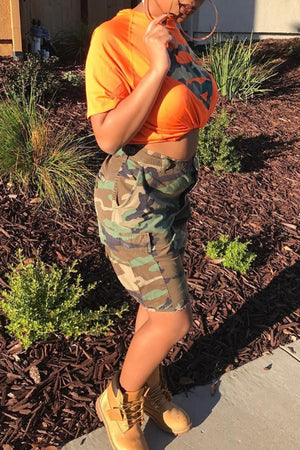 Wearvip Casual Camouflage Shorts Sets