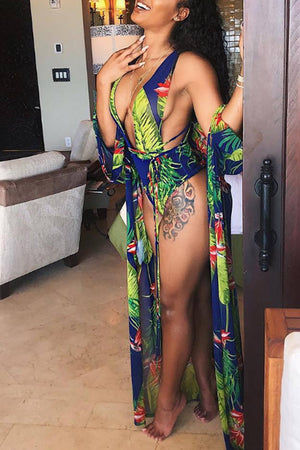 Wearvip V-neck Halter Floral Print One-piece (With Outwear)