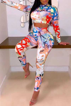 Wearvip Casual Bodycon Long Sleeve Cute Print Pants Sets