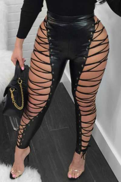Wearvip Casual High Waist Lace-up PU Pants