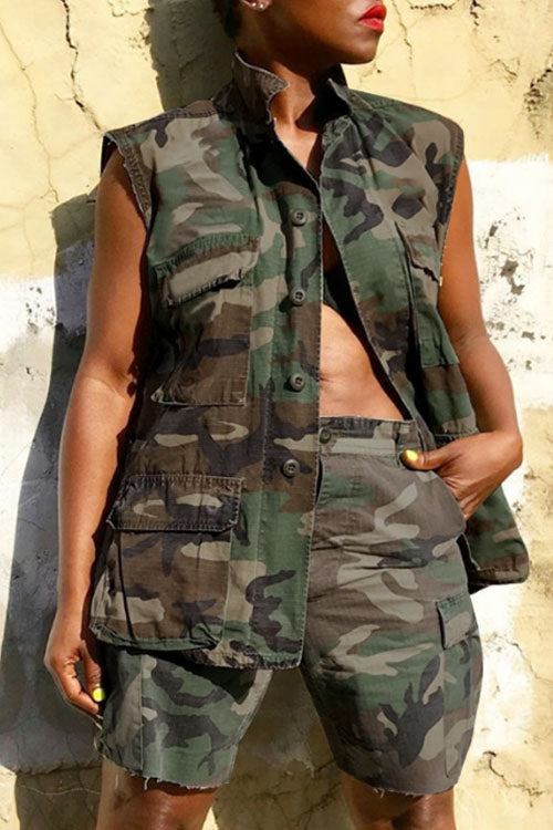 Wearvip Casual Frock Style Sleeveless Button Up Camouflage Print Shorts Sets