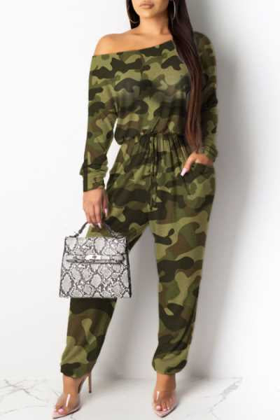 Wearvip Casual Camouflage Leopard Print Jumpsuit