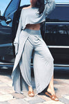 Wearvip Casual One-shoulder Solid Color Split Pant Sets