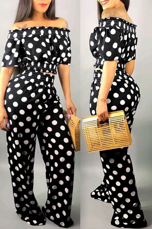 Wearvip Casual Off Shoulder Polka Dot Print Wide Leg Pants Sets