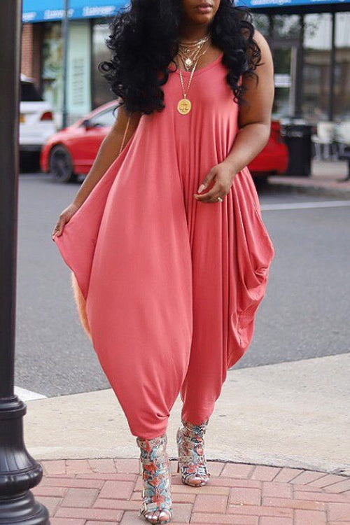 Wearvip Casual Wide Leg Bloomers Jumpsuit