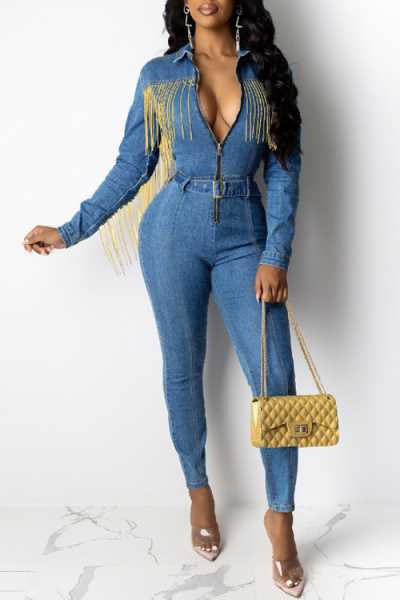 Wearvip Casual Tassel Trim Zip Up Denim Jumpsuit