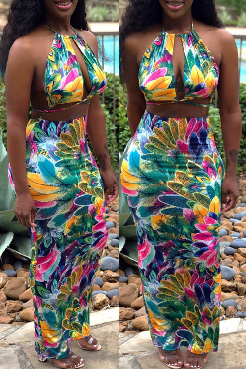 Wearvip Bohemian Halter Backless Floral Print Skirt Sets