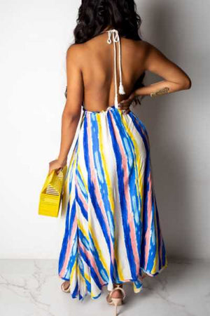 Wearvip Bohemian Backless Striped Print Skirt Sets