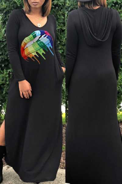 Wearvip Casual Long Sleeve Cute Lip Print Split Maxi Dress (With Hooded)