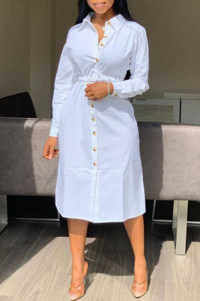 Wearvip Casual Long Sleeve Botton Up Midi Dress (Without Belt)
