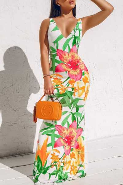 Wearvip Bohemian Backless Floral Print Maxi Dress