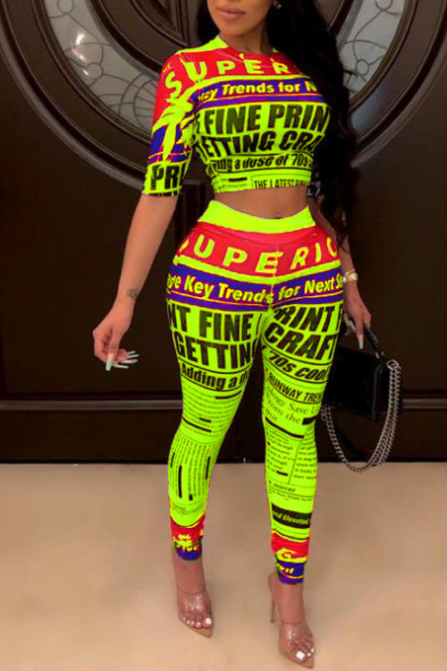 Wearvip Casual Bodycon Letters Print Pants Sets