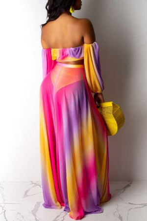 Wearvip Bohemian Strapless Backless Gradient Print Skirt Sets