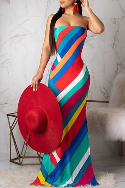Wearvip Bohemian Strapless Backless Striped Print Maxi Dress
