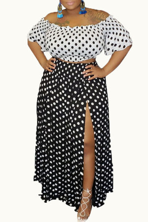 Wearvip Casual Polka Dot Print Skirt Sets
